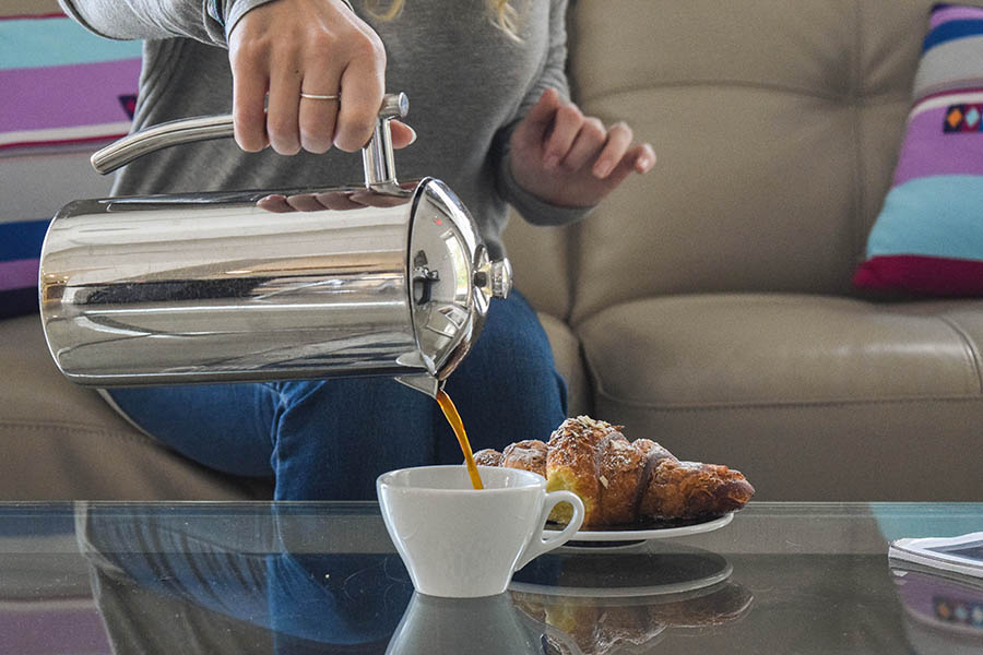 Enjoy fresh french press coffee at home