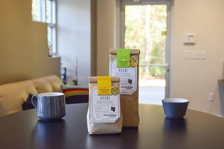 Two different single origin coffees, from Nyeri Hill in Kenya by Amavida Coffee Roasters