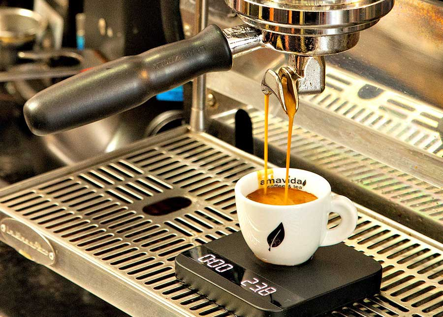 Excellent espresso shots with best espresso coffee house equipment from your local wholesale coffee partner Amavida Coffee Roasters.