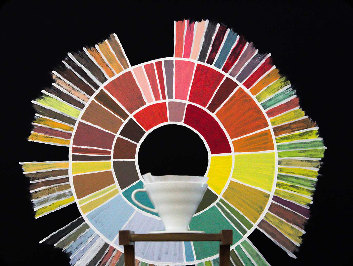 Pour over brewer displays beautifully in front of flavor wheel
