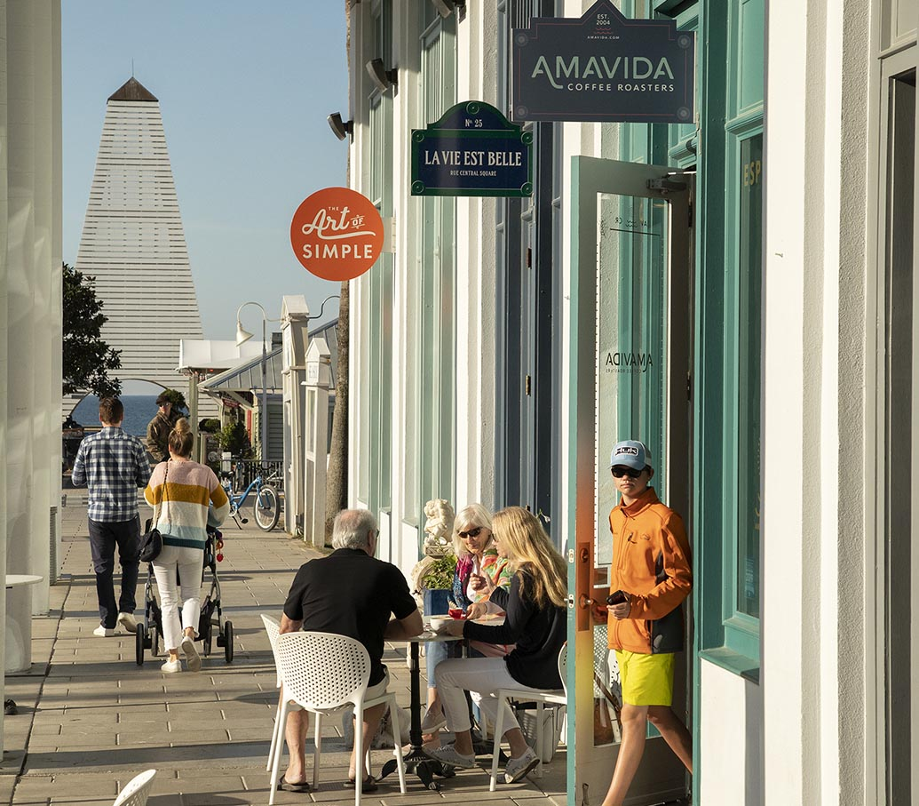 Brewing local specialty coffee in Seaside, FL. Cafe location with outdoor seating.