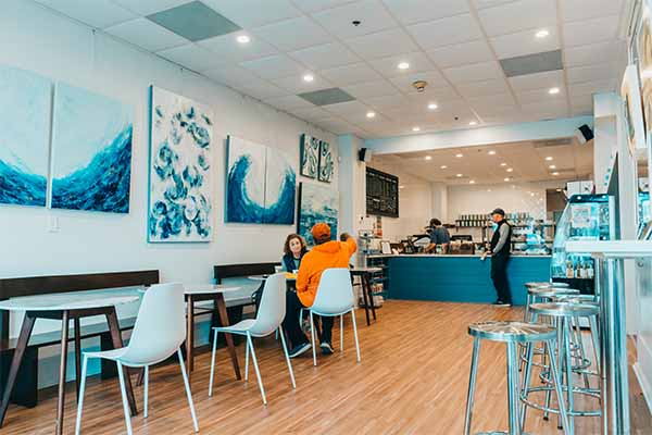 Amavida Coffee's Seaside FL cafe and local art from Anne Hunter Galleries