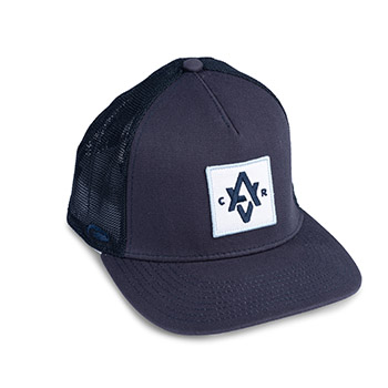 "Custom trucker hat in navy blue with ""AVCR"" embroidered on the front patch."