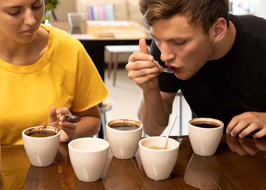 Students in coffee cupping classes sipping Florida coffee