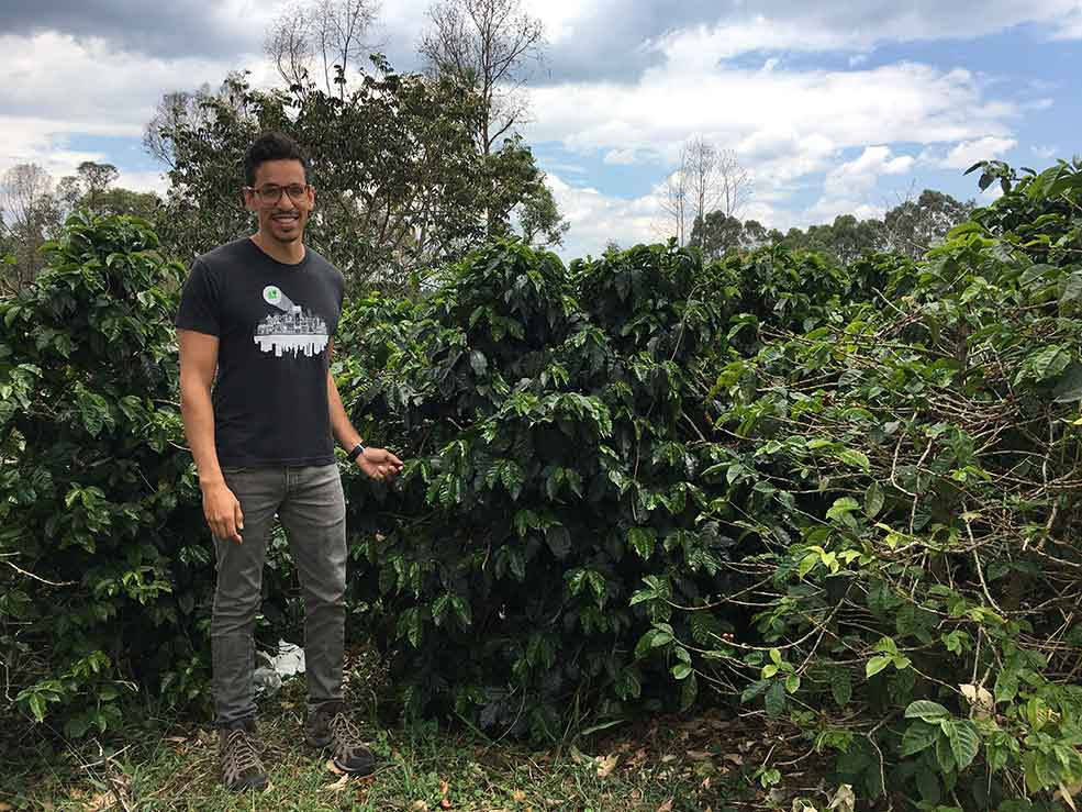 Martin Trejo seen sourcing coffee and coffee pricing at Fondo Paez in Colombia.