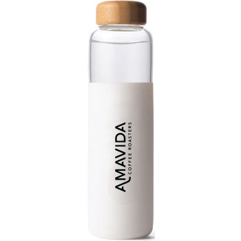 Glass Water Bottle by SOMA with Amavida Coffee Roasters logo